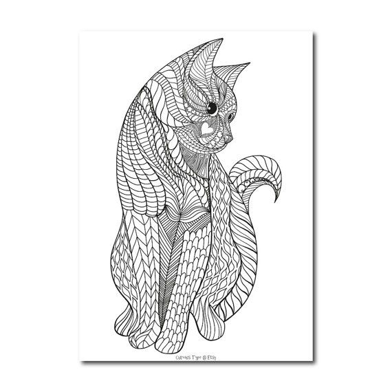 Inked Cat Colouring Page, Vector PDF File,
