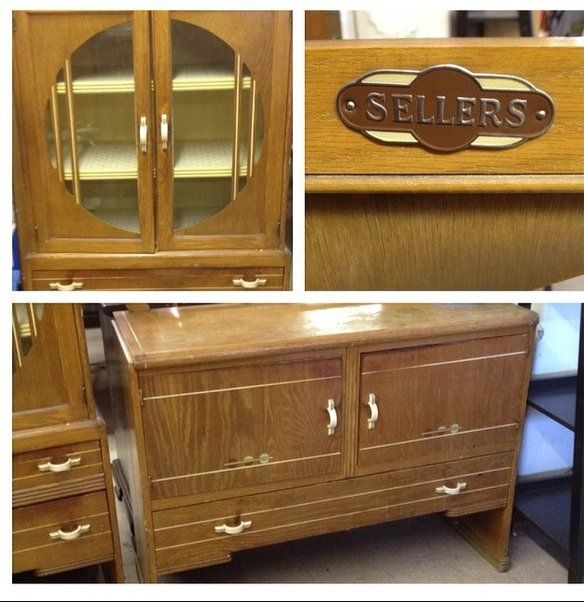 Sellers Kitchen Cabinet: Vintage 1939 Sellers Deco China Cabinet & Buffet