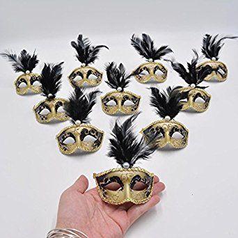 Amazon.com: Yiseng 12pcs Black Mini Masks Colurful Feather Venetian Masquerade Party Decoration Novelty Gifts: Clothing