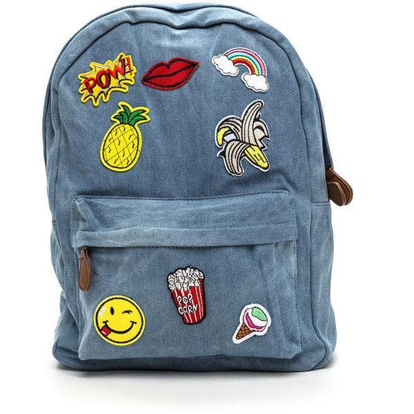 BLUE Mix 'N Patch Denim Backpack (£31) ❤ liked on Polyvore featuring bags, backpacks, blue, strap bag, faux-leather bags, bucket backpack, patch backpack and blue denim backpack