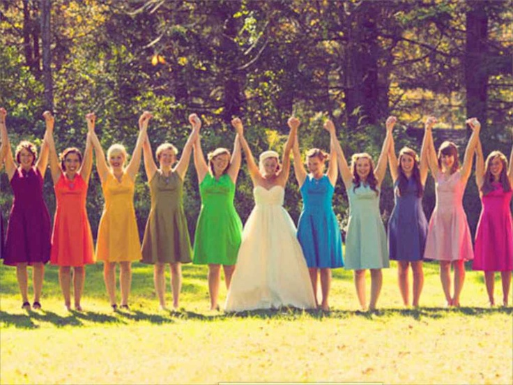 Vividly bright bridesmaid dresses. I love this!!!