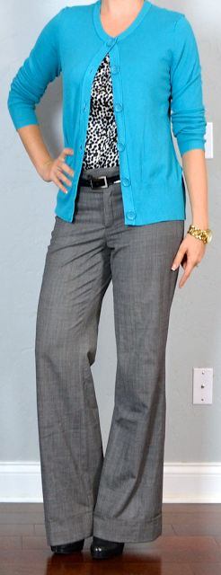 Outfit Posts: outfit post: teal cardigan, dot blouse, grey wide legged pants