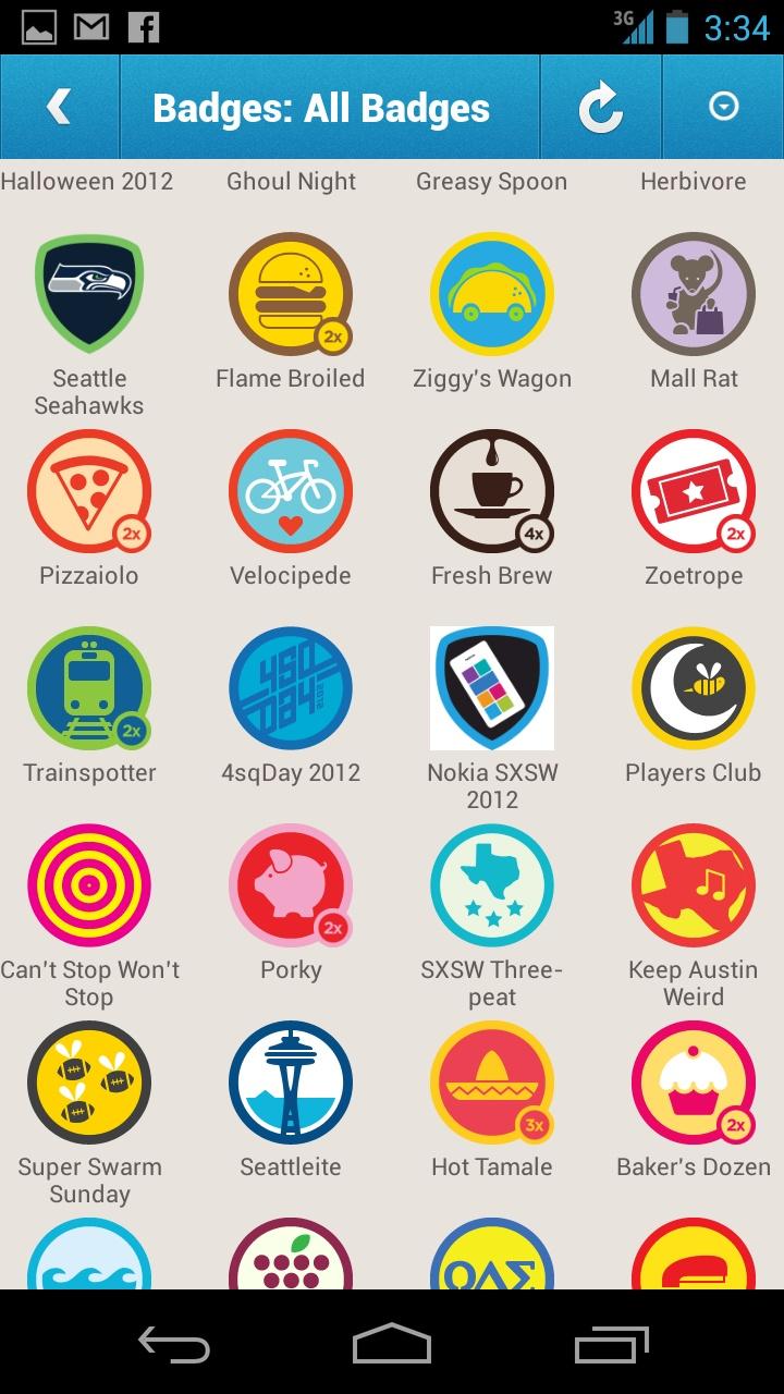 display of foursquare badges UI Achievement UI/UX