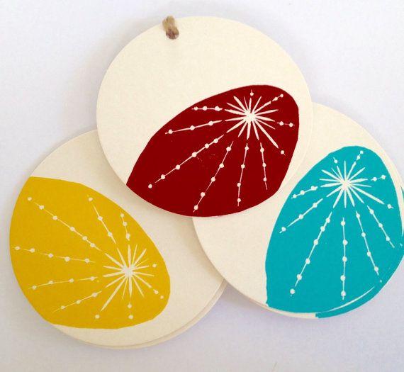 Christmas starburst linocut letterpress gift tags, pk 6