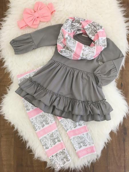 Pink & Gray Elephant 3 Pc. Scarf Set