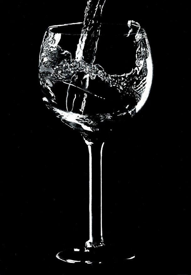 Water in the glass-Black & White  Hyper-realism pencil drawing. White pencil on Black paper  By Varun S