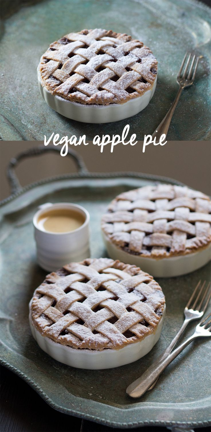 8 ingredient vegan apple pie - delicious shortcrust pastry case hide lots of fragrant apple, raisin and cinnamon filling.  PLUS, step-by-step photos on how to make lattice pastry on the blog