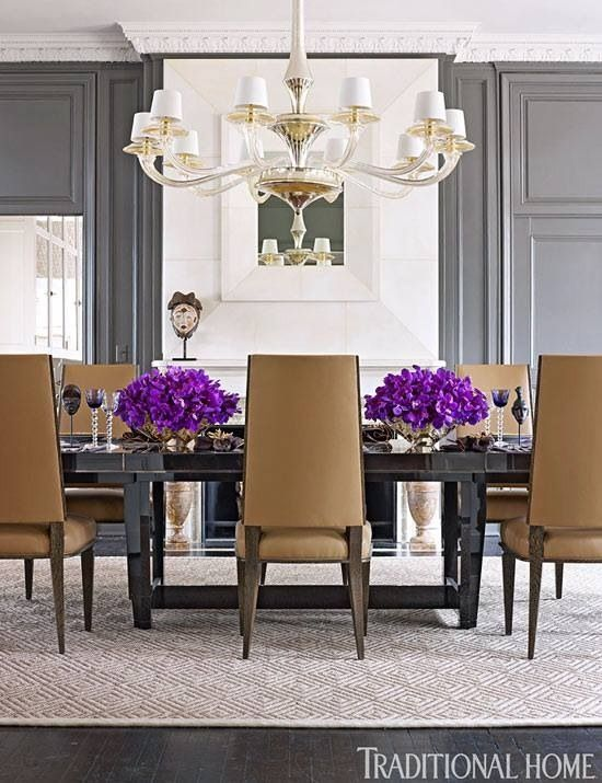 sophisticated grey dining room love the pop of purple