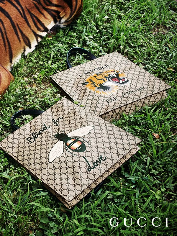 57ef9d2995c Presenting gifts from the Gucci Garden. Totes from Gucci Gift, crafted in GG  motif and embellished with animals from the … | Alessandro Michele - Gucci  - ...