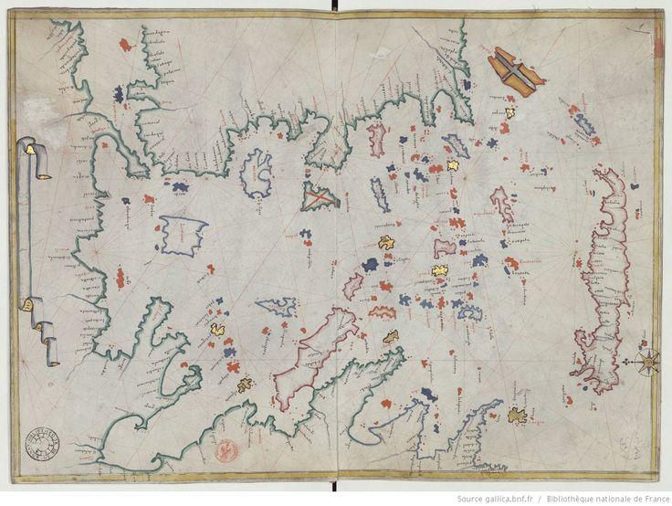 Portulan de la Méditerranée et des côtes européennes de l'Atlantique, dédié au cardinal de Richelieu, en 1633, par Augustin ROUSSIN, de…