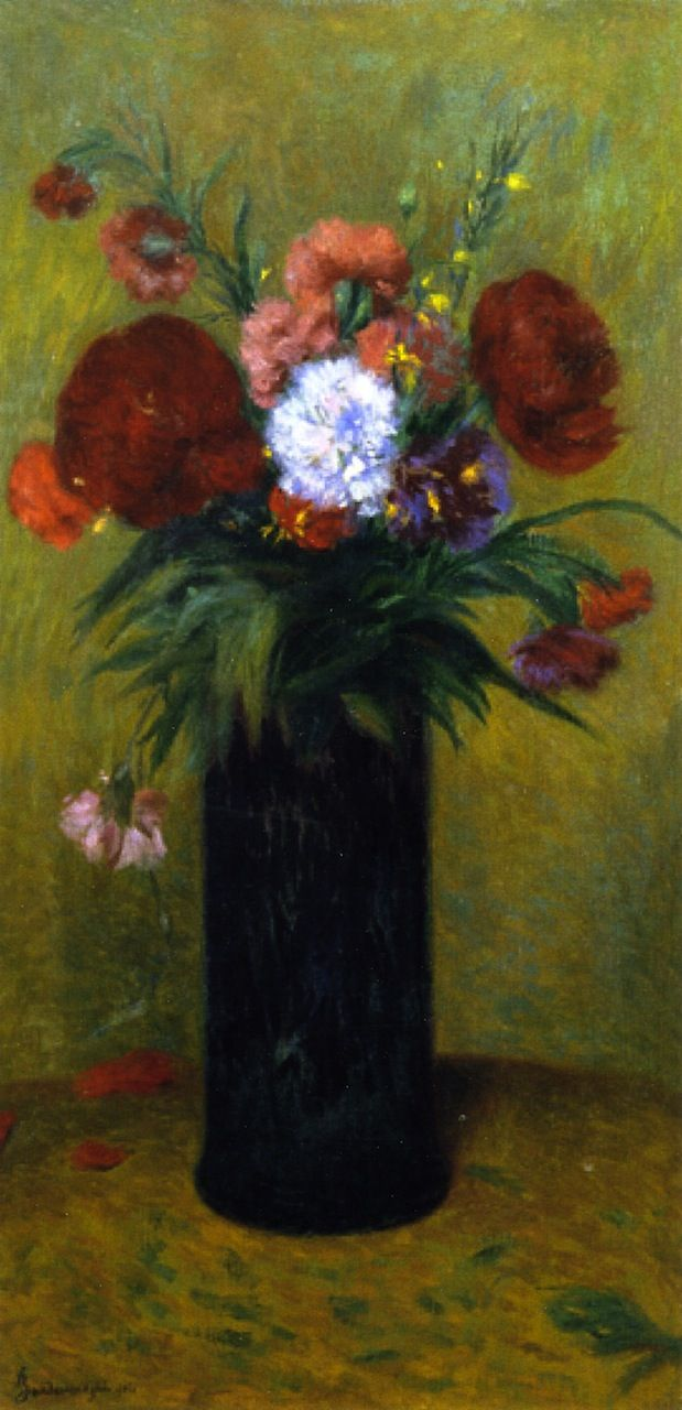 The Athenaeum - ZANDOMENEGHI, Federico Italian (1841-1917)_Flowers in a Blue Vase- 1914