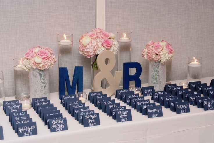 Monogram Navy Blue Place Card Display