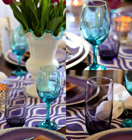 Purple & aqua glassware for a spring luncheon Mary Lillie Memory Club Luncheon – A Pretty Purple Celebration