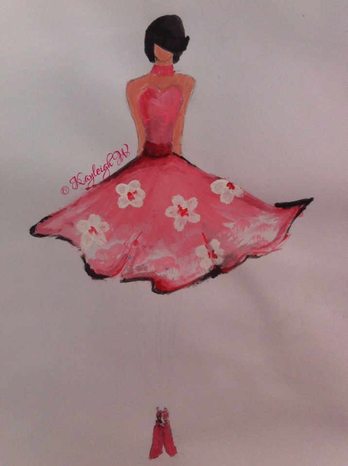Pink dress with white flowers Fashion Illustration © Kayleigh W