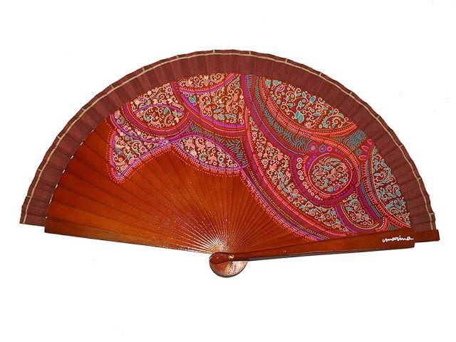 Colección Paisley, Abanicos de Marina, abanico pintado a mano paisley, spanish fan