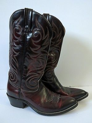 Mens Boulet Leather Cowboy Boots 9 Black Western Made In Canada EUC Shoes