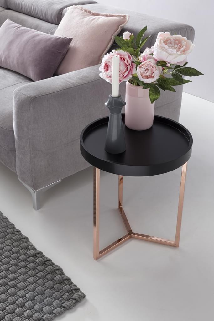 Wohnling Design Beistelltisch Schwarz Kupfer O 40 Cm Tabletttisch Holz Metall In 2020 Design Beistelltisch Beistelltisch Schwarz Und Couchtische Dekorieren