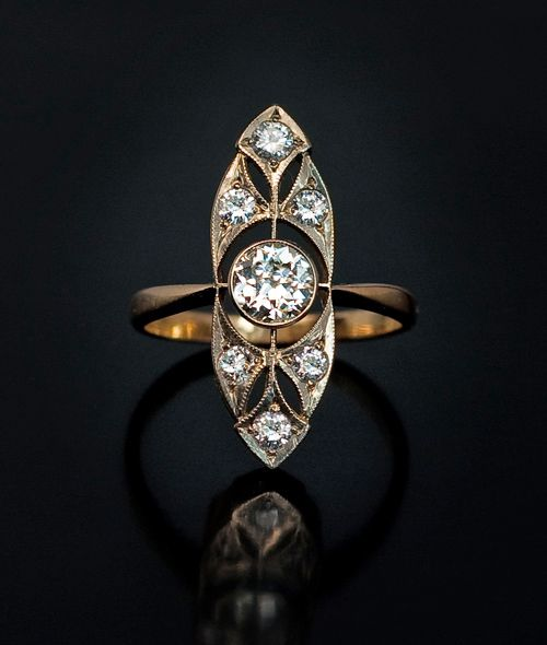 Vintage Russian Antique Art Deco White and Yellow Gold Lady's Diamond Ring for sale