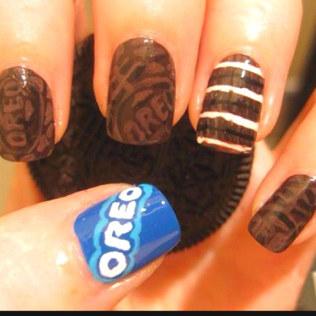 Oreo nails!Nails Art, American Apparel, Style, Nailart, Nails Design, Beautiful, Oreo Nails, Nails Polish, Hair