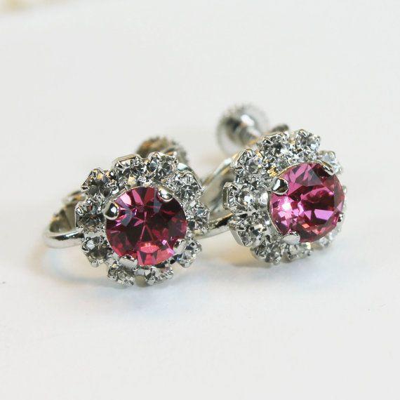 Girls Pink Clip Earrings Pink Swarovski Crystal Clip on Earrings Flower Girl Gift Pink clip On Toddler earring non pierced ears,Silver,SE116