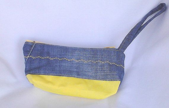 denim and yellow cotton fabric zippered makeup by creatingbyVilly