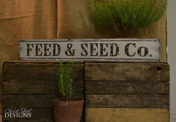 Hand Painted Vintage Feed and Seed Sign - Old Signs on Etsy, $40.00