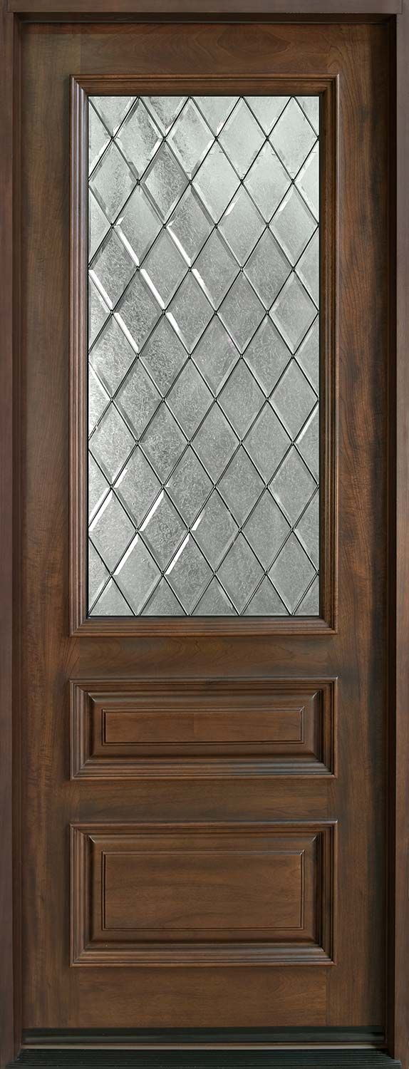 Entry Door in-Stock - Single - Solid Wood with Walnut Finish, Classic Series, Model GD-611TDG
