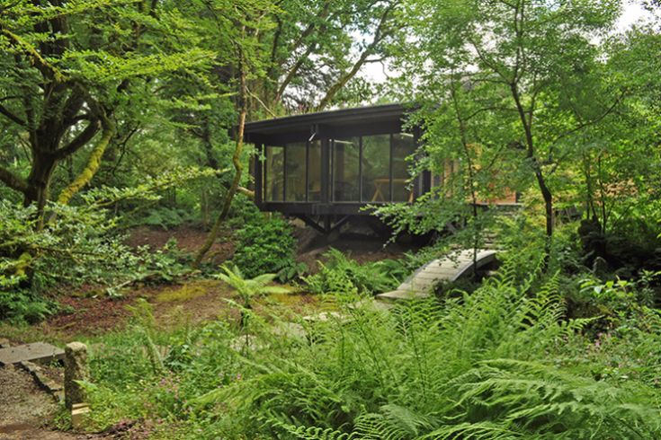 The cantilevered north room stretches out into the woodland