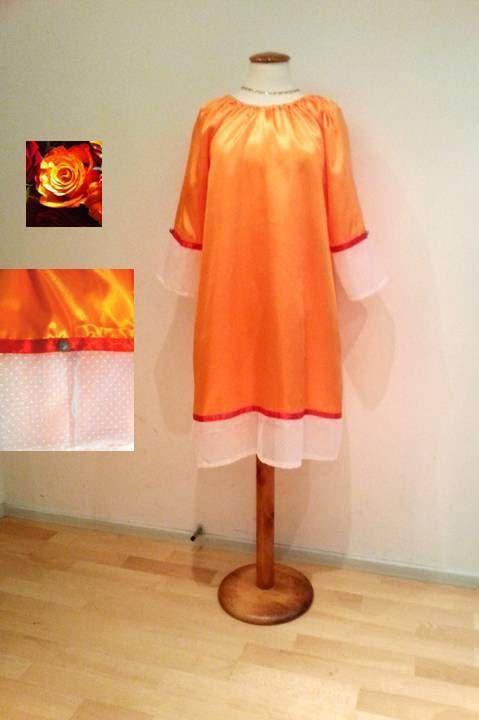 Orange tunic dress sale white lace dress womans by WalinaWebshop