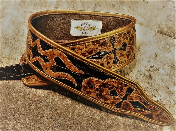 One-of-a-kind Tribal Double Cross guitar strap designed and crafted from the finest leathers you can get, by www.eddiebratleather.com