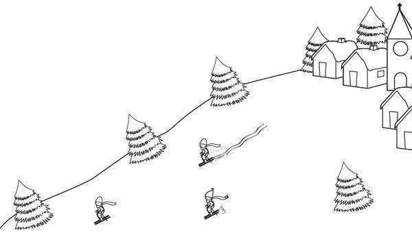 Paisaje de montaña con esquiadores: dibujo para colorear e imprimir