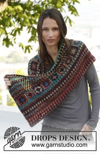 """Crochet DROPS moebius neck warmer and hat with squares in """"Delight"""". ~ DROPS Design"""