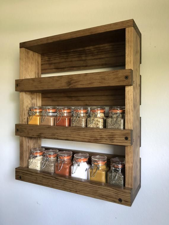 spice rack kitchen wooden wall mounted
