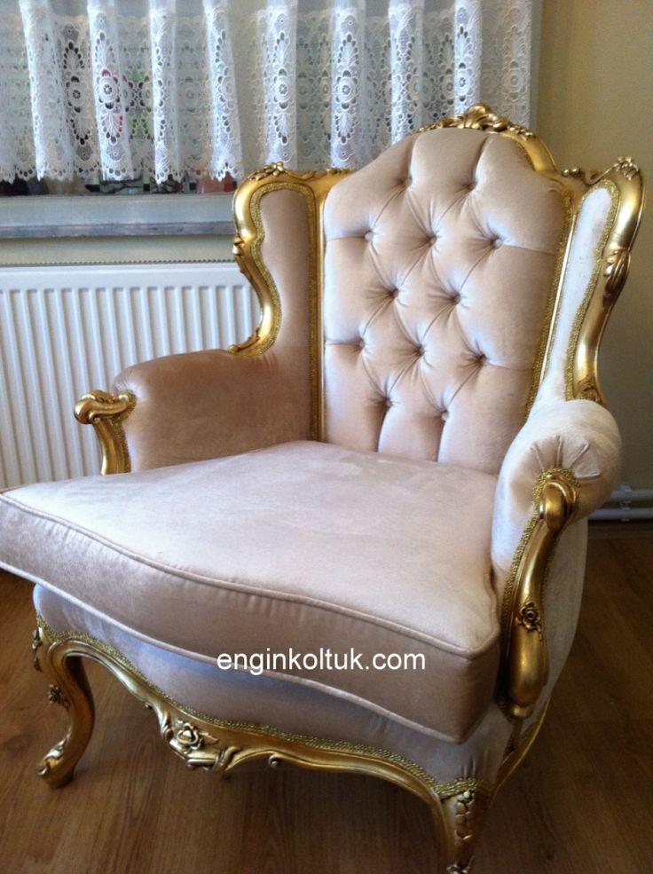 Engin Mobilya imalat Klasik altın varak kaplama 2015 berjer koltuk antika döşeme model no 2333 enginkoltuk com