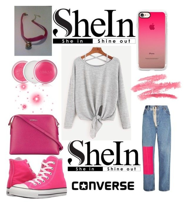 """SheIn: Win! Heather Grey Criss-Cross Tie Front T-Shirt"" by mandimwpink ❤ liked on Polyvore featuring Off-White, Converse, Casetify, Furla and Clinique"