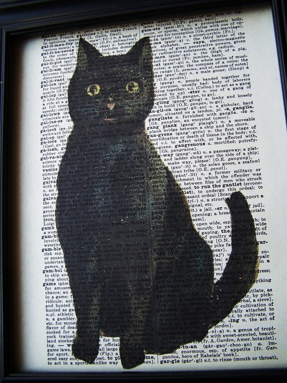 cats and vintage books