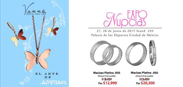 Expo Nupcias...Junio ♥♥♥ Te esperamos en Expo Nupcias 2015, en el Stand 249 este 27 y 28 de Junio. Argollas de Matrimonio desde $4,500 pesos. Joyería de Platino & Diamante / Argollas de Matrimonio Oro & Platino / Anillos de Compromiso Platino & Diamante / Churumbelas... #junio #díadelpapa #matrimonio #expotuboda #eshoradecompartir #momentos #jueves #yonovia #joyería #amor