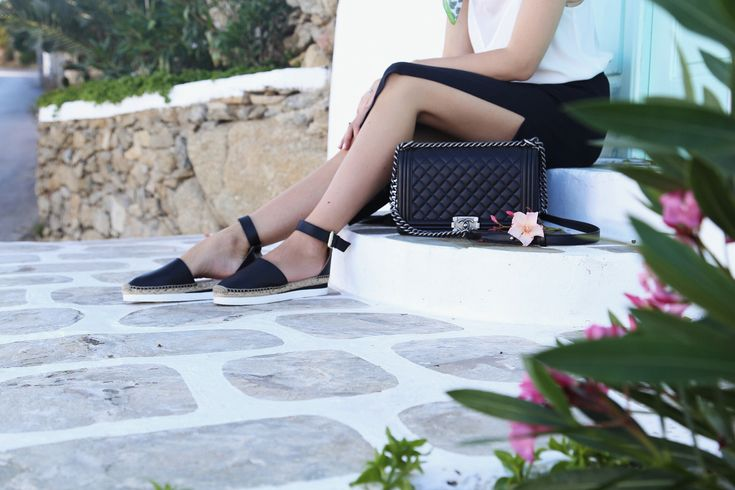 Chanel Boy Bag quilted black leather & See by Chloé espadrilles