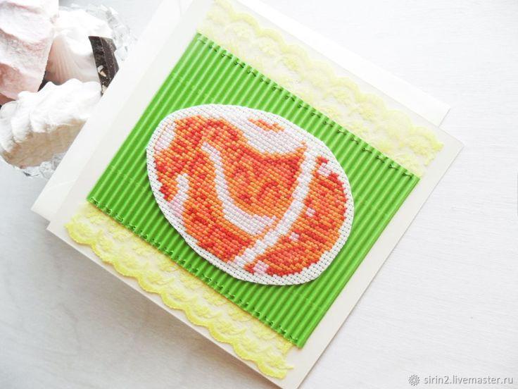 Пасхальная открытка в конверте, ручная вышивка крестом розовый зеленый – купить в интернет-магазине на Ярмарке Мастеров с доставкой - FB9T1RU