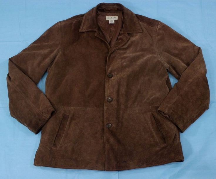 J Crew Suede Leather Jacket Coat Sz M Brown Winter Dress Casual  #JCrew #BasicCoat