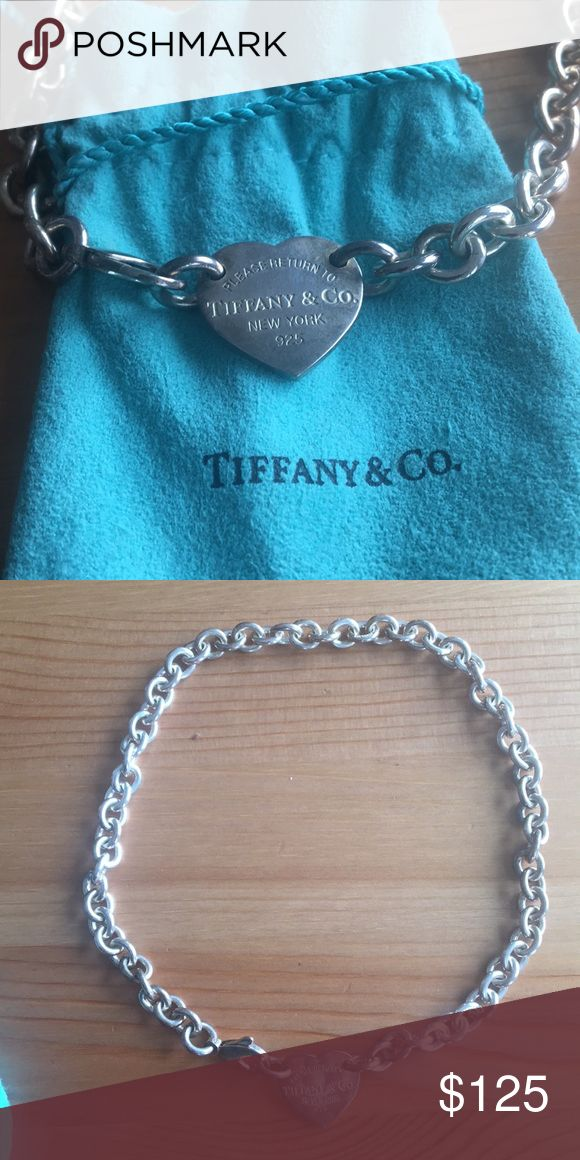 Tiffany and Co. 925 sterling silver heart necklace Return to Tiffany heart tag choker. 925 Sterling silver. Little bit of tarnishing but I'll leave it up to the buyer to polish. Bought it about 10 years ago and I don't wear it enough to keep it. Tiffany & Co. Jewelry Necklaces