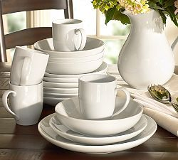 Dinnerware Sets, Dish Sets, White Dinnerware & Plates | Pottery Barn - Pitcher as flower vase