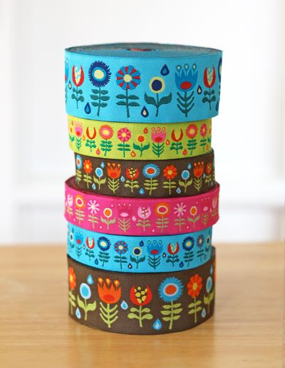Retro flower jacquard ribbon designed by Jess @ http://howaboutorange.blogspot.com for  J Caroline