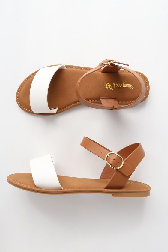 d187de663 Taryn White Flat Sandals | clothes | Sandals, Flat sandals, White flats