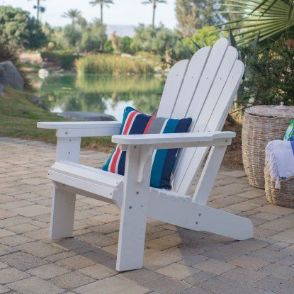 Belham Living Seacrest Cottage All Weather Resin Adirondack Chair - White