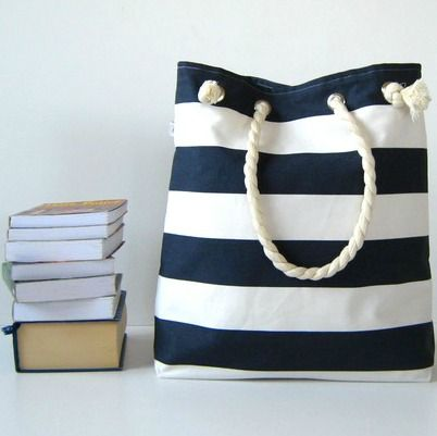 Sailor Tote Bag --for market or beach or gym-- - dark blue and white bold…
