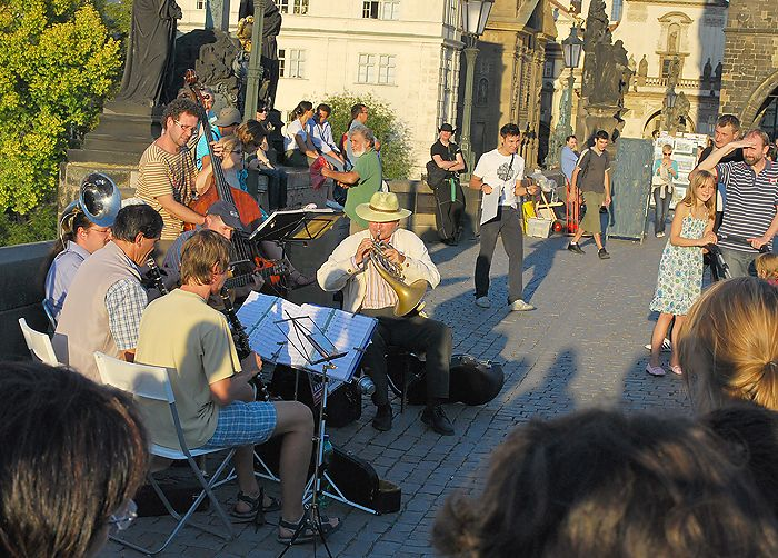 Czech Republic, Prague, picture, city, summer, the river, the bridge, the Charles Bridge, the musicians, the music, the orchestra