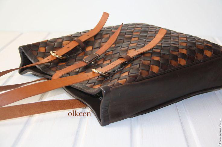 Купить Сумка кожаная плетеная Megapolis - коричневый, в клеточку, плетение, плетеная сумка