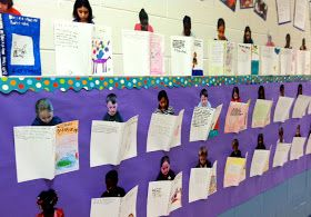 LOVE this wall display- illustrate the front of their favorite book with summary on back-- and get to incorporate pictures =)