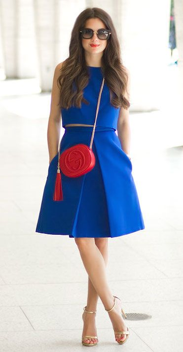 SarahStylesSeattle.com ------ Tibi Katia Faille Pleat Skirt Women's Skirt // Tibi Cotton & Silk Cropped Top // Gucci Soho Leather Mini Chain Bag // Miu Miu Square Catwalk Sunglasses //
